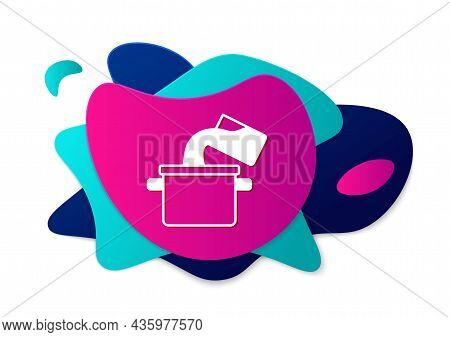 Color Cooking Pot Icon Isolated On White Background. Boil Or Stew Food Symbol. Abstract Banner With