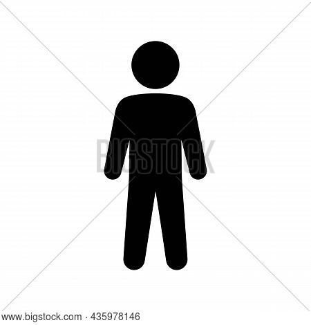 Simple Man Or Person Silhouette Solid Black Line Icon. Trendy Flat Isolated Symbol Sign Can Be Used
