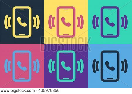 Pop Art Telephone 24 Hours Support Icon Isolated On Color Background. All-day Customer Support Call-