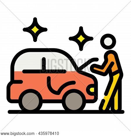 Man Take Car After Repair Icon. Outline Man Take Car After Repair Vector Icon Color Flat Isolated