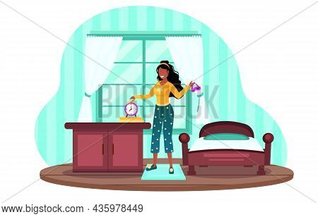 Waking Up Early In The Morning. Happy Full Of Energy Woman Woman. Metaphor For Healthy Sleep And Vig
