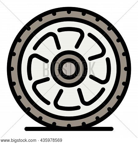 Car Wheel After Repair Icon. Outline Car Wheel After Repair Vector Icon Color Flat Isolated