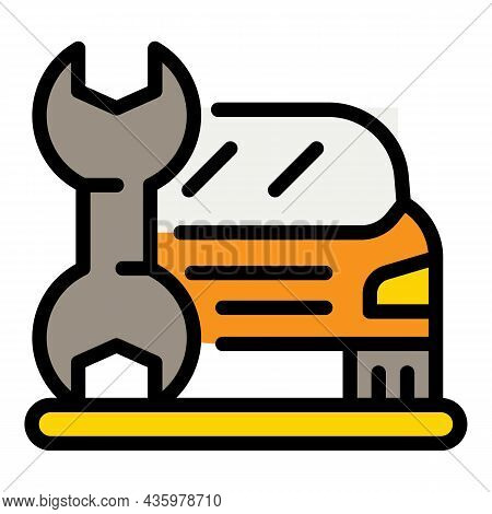 Car In Fix Repair Icon. Outline Car In Fix Repair Vector Icon Color Flat Isolated