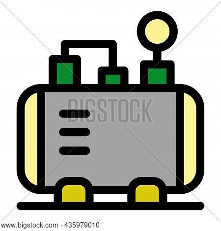 Pneumatic Air Compressor Icon. Outline Pneumatic Air Compressor Vector Icon Color Flat Isolated