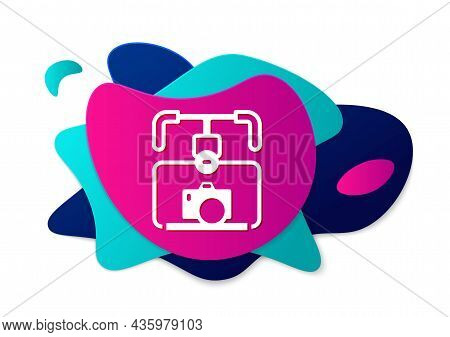 Color Gimbal Stabilizer With Dslr Camera Icon Isolated On White Background. Abstract Banner With Liq
