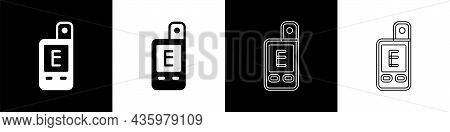 Set Light Meter Icon Isolated On Black And White Background. Hand Luxmeter. Exposure Meter - A Devic