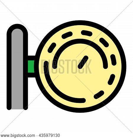 Compressor Gauge Icon. Outline Compressor Gauge Vector Icon Color Flat Isolated