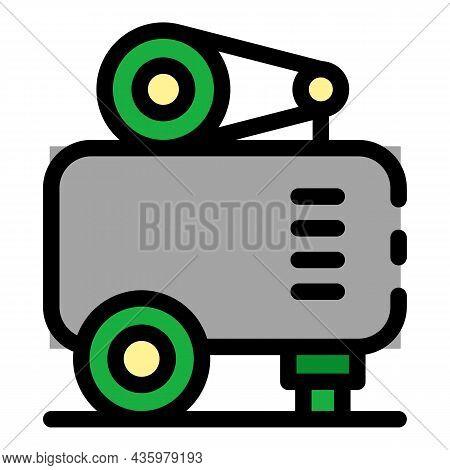 Air Compressor Unit Icon. Outline Air Compressor Unit Vector Icon Color Flat Isolated
