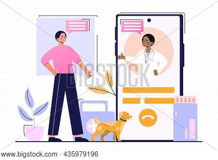 Veterinarian On Smartphone. Providing Services Remotely, Consultation With Patient On Internet. Spec