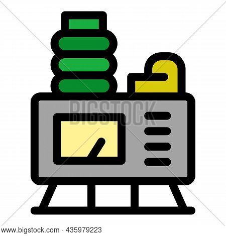 Electric Air Compressor Icon. Outline Electric Air Compressor Vector Icon Color Flat Isolated