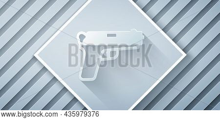 Paper Cut Pistol Or Gun Icon Isolated On Grey Background. Police Or Military Handgun. Small Firearm.
