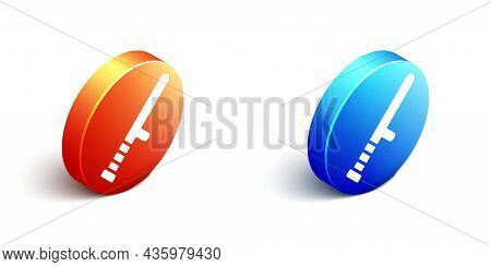 Isometric Police Rubber Baton Icon Isolated On White Background. Rubber Truncheon. Police Bat. Polic