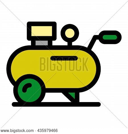 Air Compressor Cylinder Icon. Outline Air Compressor Cylinder Vector Icon Color Flat Isolated