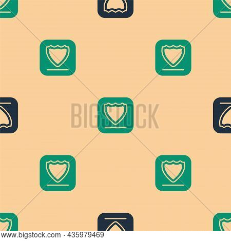 Green And Black Shield Icon Isolated Seamless Pattern On Beige Background. Guard Sign. Security, Saf
