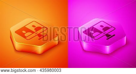 Isometric Video Chat Conference Icon Isolated On Orange And Pink Background. Computer With Video Cha