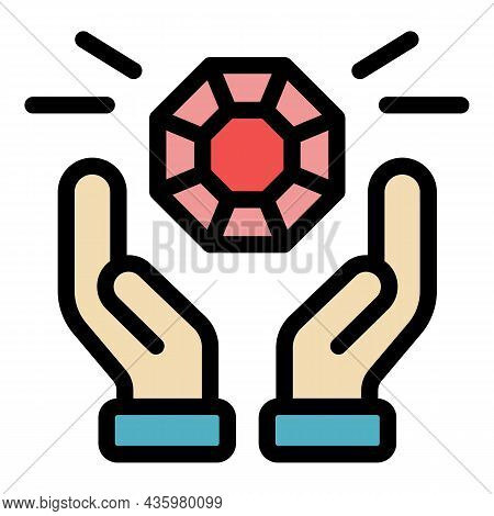 Hands And Diamond Icon. Outline Hands And Diamond Vector Icon Color Flat Isolated