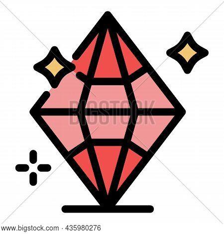 Brilliant Diamond Icon. Outline Brilliant Diamond Vector Icon Color Flat Isolated