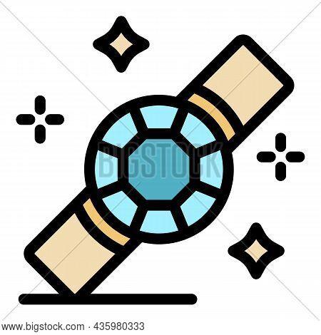 Gem Bracelet Icon. Outline Gem Bracelet Vector Icon Color Flat Isolated