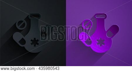 Paper Cut Medicine Pill Or Tablet Icon Isolated On Black On Purple Background. Capsule Pill And Drug