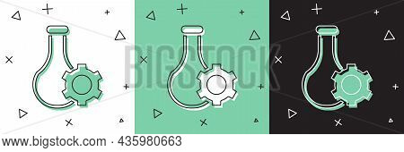 Set Test Tube And Flask Chemical Laboratory Test Icon Isolated On White And Green, Black Background.