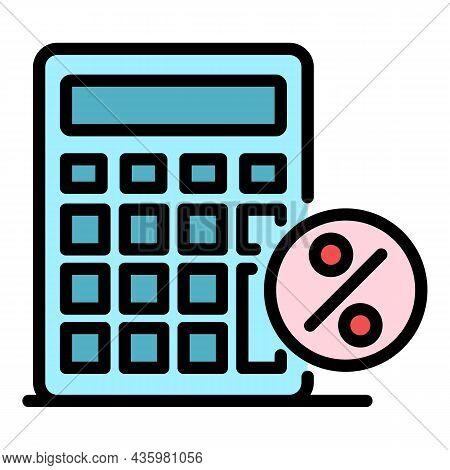 Percent Calculator Icon. Outline Percent Calculator Vector Icon Color Flat Isolated