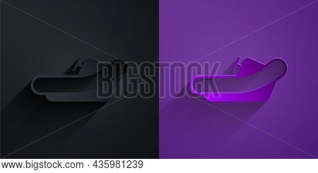 Paper Cut Rafting Boat Icon Isolated On Black On Purple Background. Inflatable Boat With Paddles. Wa