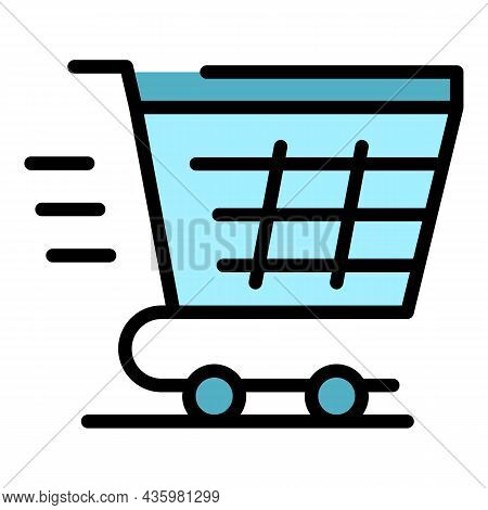 Fast Shopping Cart Icon. Outline Fast Shopping Cart Vector Icon Color Flat Isolated