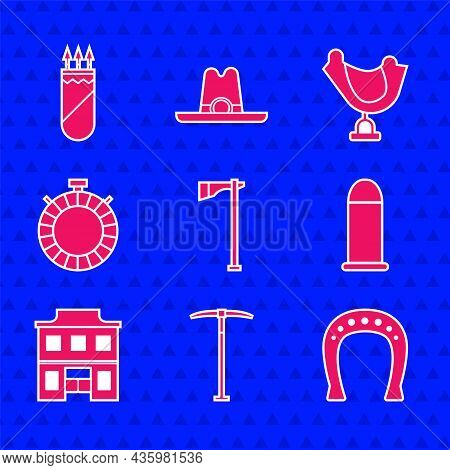 Set Tomahawk Axe, Pickaxe, Horseshoe, Bullet, Wild West Saloon, Canteen Water Bottle, Saddle And Qui