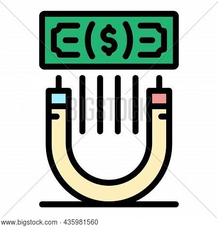 Attract Money Icon. Outline Attract Money Vector Icon Color Flat Isolated