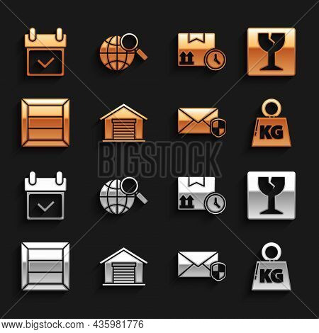 Set Warehouse, Fragile Broken Glass, Weight, Envelope With Shield, Wooden Box, Cardboard And Fast Ti
