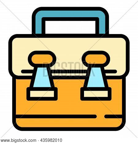 Manager Suitcase Icon. Outline Manager Suitcase Vector Icon Color Flat Isolated