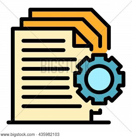 Docs In Work Icon. Outline Docs In Work Vector Icon Color Flat Isolated