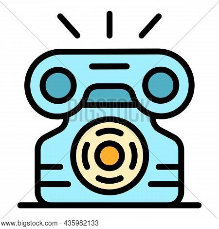 Ringing Telephone Icon. Outline Ringing Telephone Vector Icon Color Flat Isolated