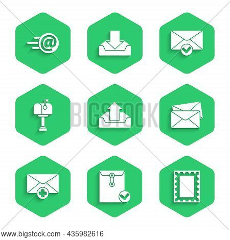 Set Upload Inbox, Envelope And Check Mark, Postal Stamp, Received Message Concept, Mail, And E-mail