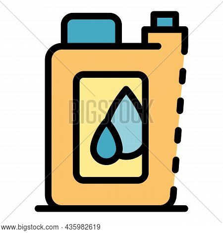 Motor Oil Canister Icon. Outline Motor Oil Canister Vector Icon Color Flat Isolated
