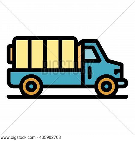 Hybrid Car Truck Icon. Outline Hybrid Car Truck Vector Icon Color Flat Isolated