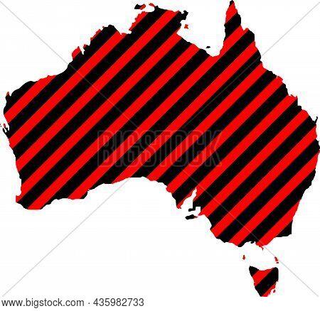 Vector Australia Map Illustration, Red Highlighted Hatched Region. Highlighted Illustration Of Austr