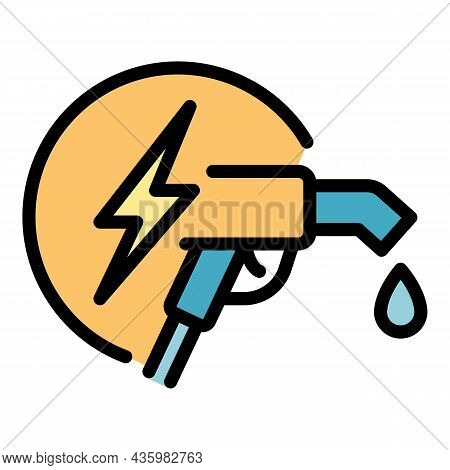 Fuel Pistol Station Icon. Outline Fuel Pistol Station Vector Icon Color Flat Isolated