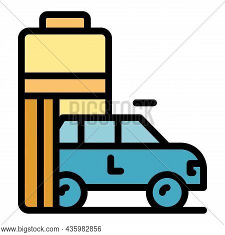 Battery Hybrid Car Icon. Outline Battery Hybrid Car Vector Icon Color Flat Isolated
