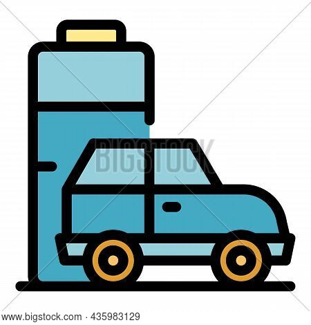 Modern Hybrid Car Icon. Outline Modern Hybrid Car Vector Icon Color Flat Isolated
