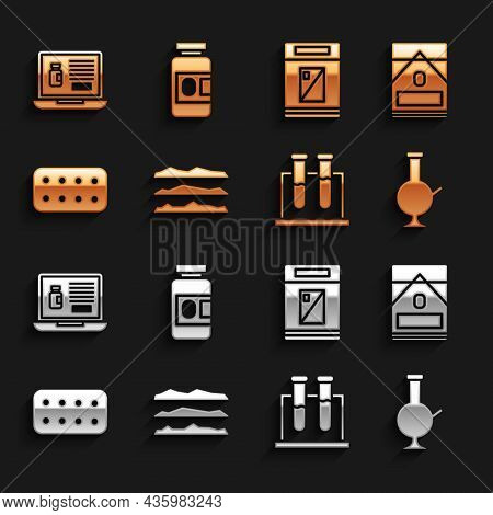 Set Cocaine Or Heroin Drug, Cigarettes Pack Box, Glass Bong For Smoking Marijuana, Test Tube And Fla
