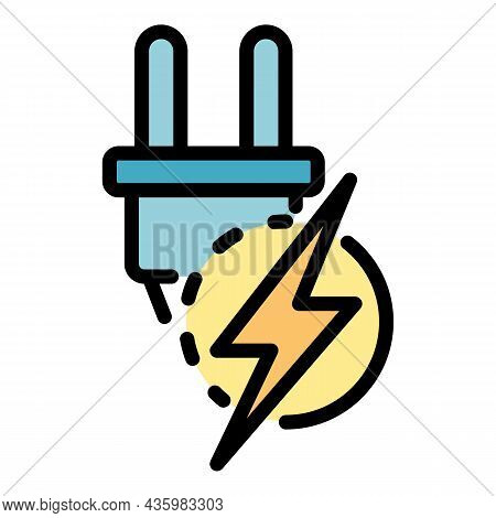 Power Energy Plug Icon. Outline Power Energy Plug Vector Icon Color Flat Isolated