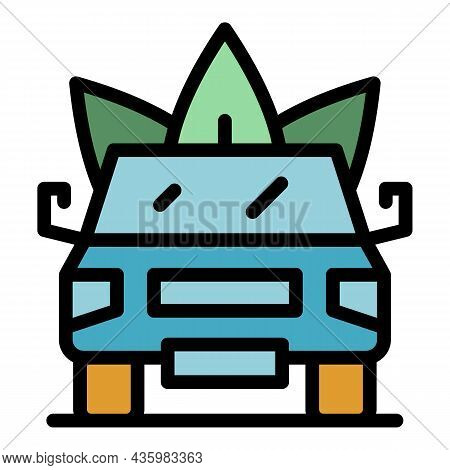 Eco Traffic Hybrid Car Icon. Outline Eco Traffic Hybrid Car Vector Icon Color Flat Isolated