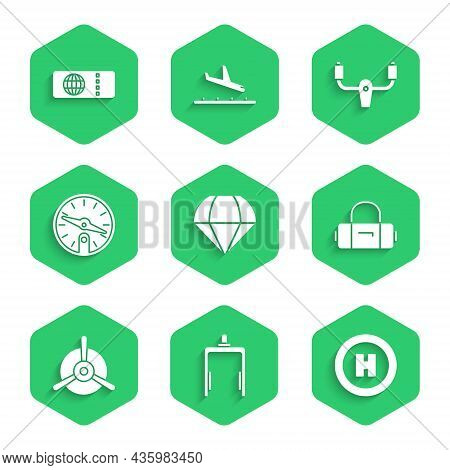 Set Parachute, Metal Detector In Airport, Helicopter Landing Pad, Suitcase, Plane Propeller, Compass