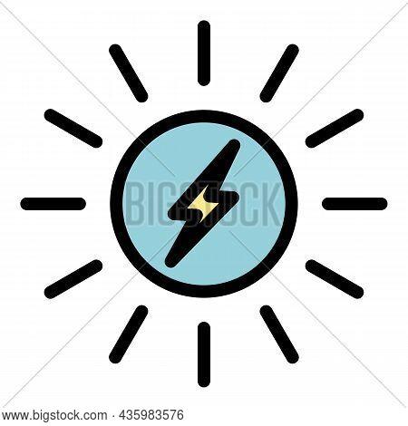 Light Solar Energy Icon. Outline Light Solar Energy Vector Icon Color Flat Isolated