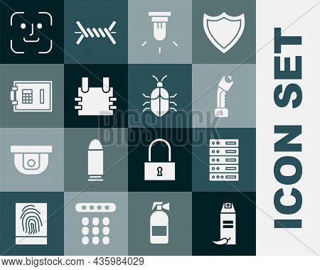 Set Pepper Spray, Server, Data, Web Hosting, Police Electric Shocker, Motion Sensor, Bulletproof Ves