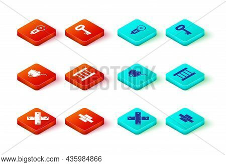 Set Crossed Ruler, Bricks, Shovel, Wooden Staircase, Old Key And Angle Grinder Icon. Vector