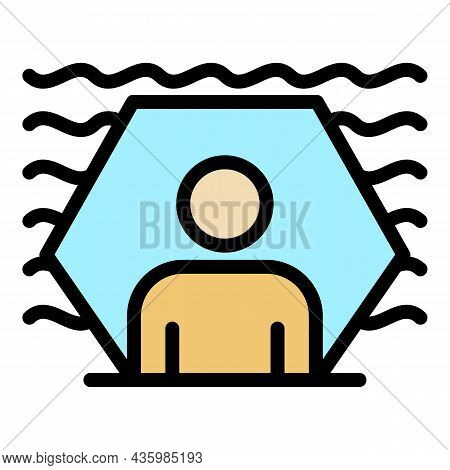Protected Sound Man Icon. Outline Protected Sound Man Vector Icon Color Flat Isolated