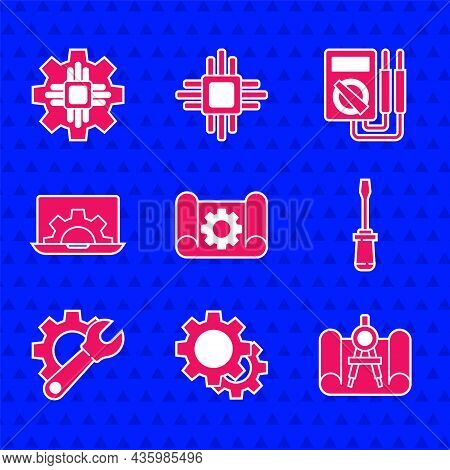 Set Graphing Paper And Gear, Gear, Compass, Screwdriver, Wrench Spanner, Laptop, Multimeter And Proc