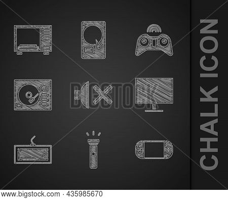 Set Speaker Mute, Flashlight, Portable Video Game Console, Computer Monitor Screen, Keyboard, Vinyl